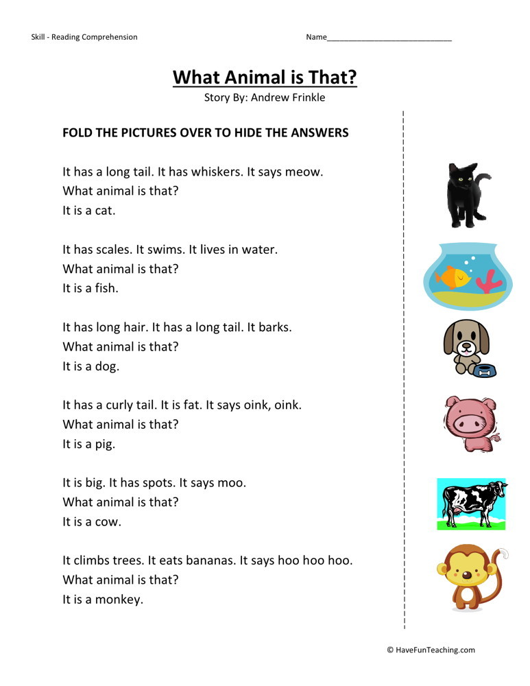 Reading Comprehension Worksheet - What Animal is That?
