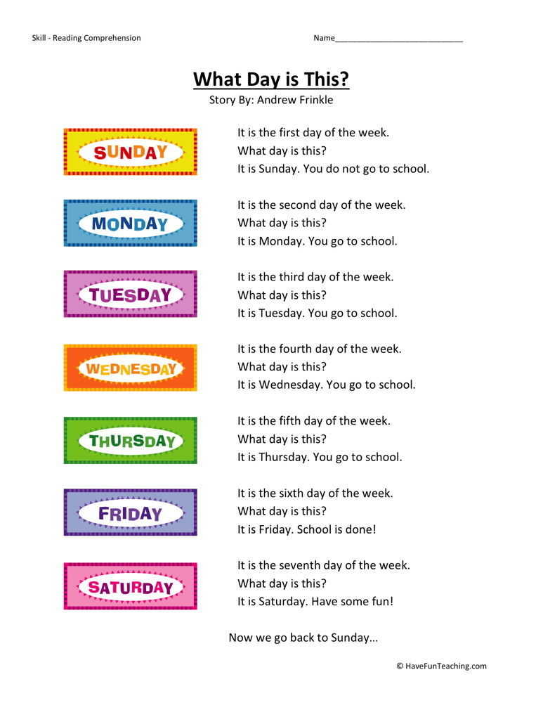 Reading Comprehension Worksheet - What Day is This?