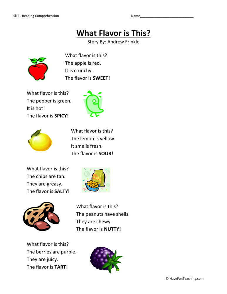 Reading Comprehension Worksheet - What Flavor is This?