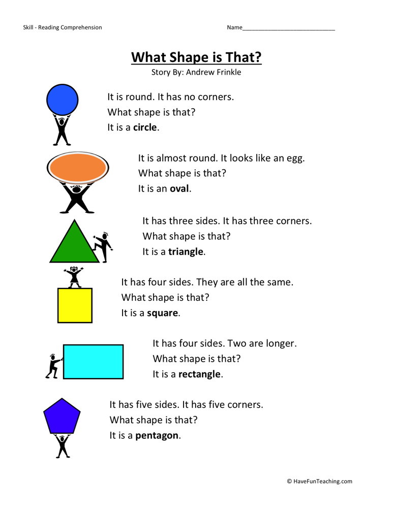Reading Comprehension Worksheet - What Shape is That?