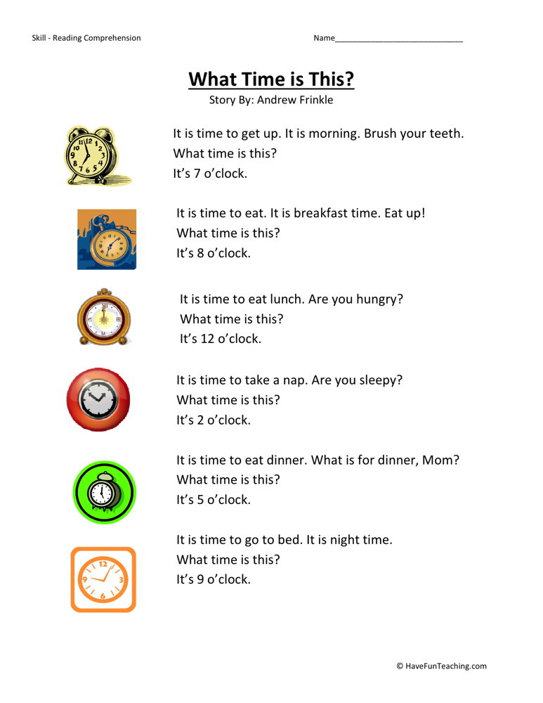 Reading Comprehension Worksheet - What Time is This?