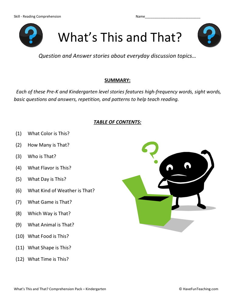 Reading Comprehension Worksheet Whats This And That Collection