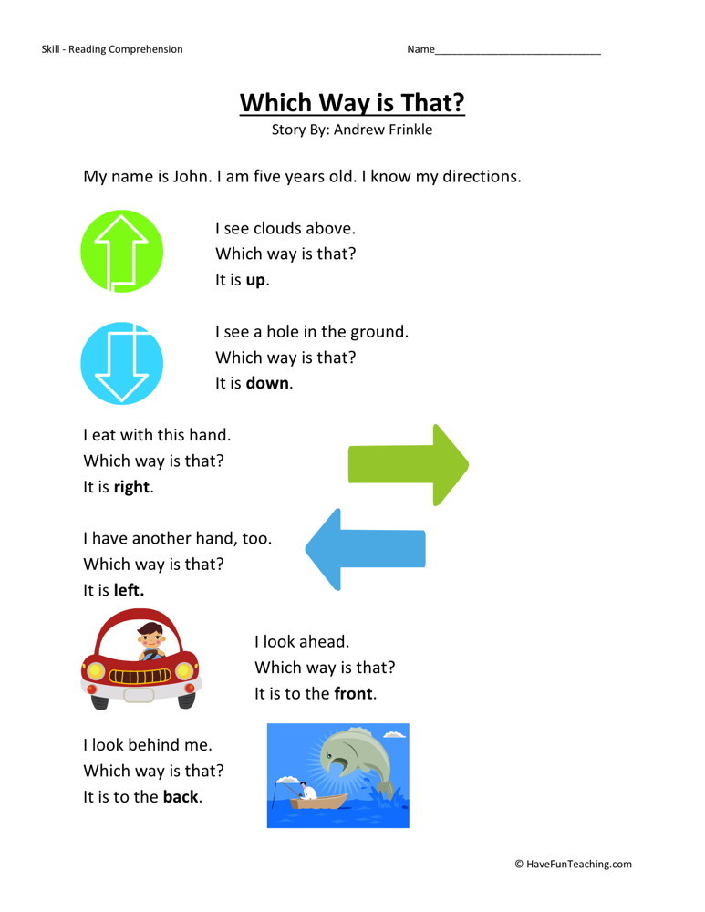 Reading Comprehension Worksheet - Which Way is That?