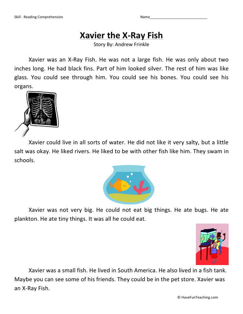 Reading Comprehension Worksheet - Xavier the Xray Fish