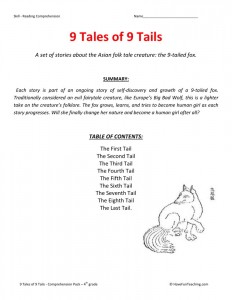 Reading Comprehension Worksheet - 9 Tales of 9 Tails Collection