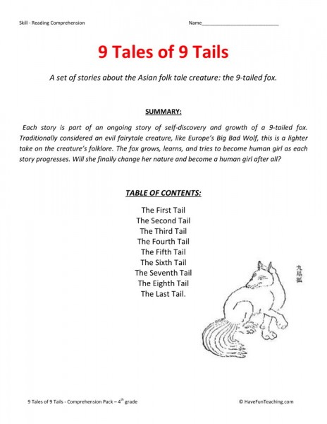 Reading Comprehension Worksheet 9 Tales Of 9 Tails