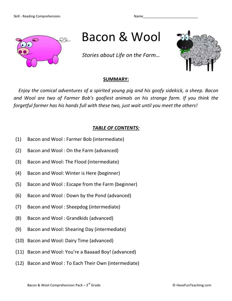 Reading Worksheets For 3rd Grade : Reading comprehension worksheet bacon and wool collection