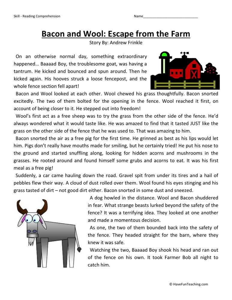 Reading Comprehension Worksheet - Bacon and Wool: Escape from the Farm