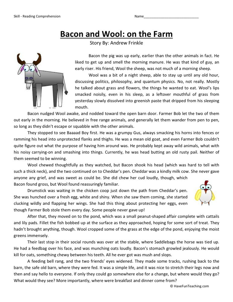 Reading Comprehension Worksheet - Bacon and Wool: On the Farm