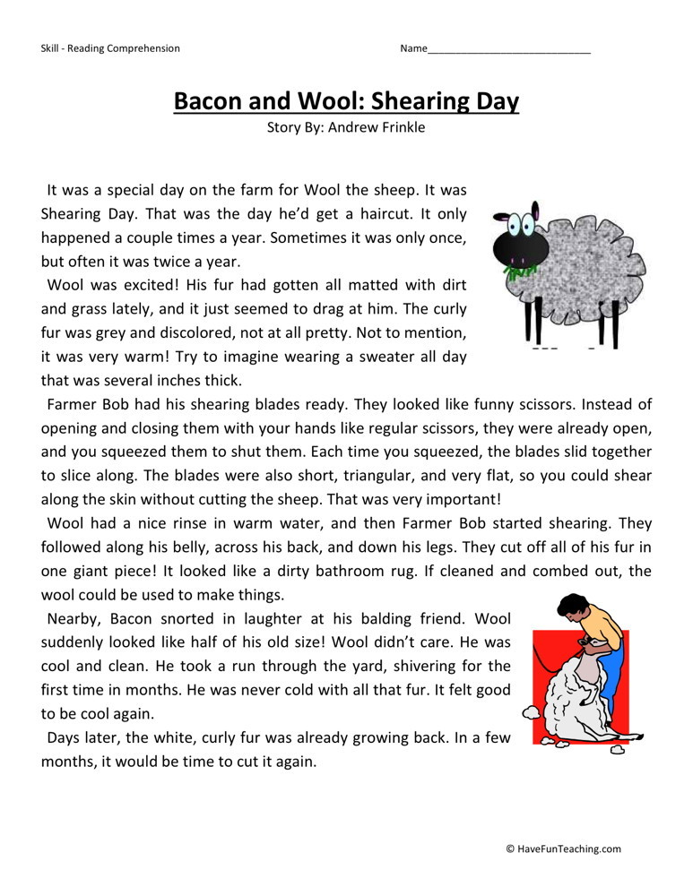 Reading Comprehension Worksheet - Bacon and Wool: Shearing Day