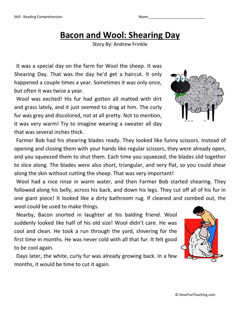 Printable Worksheets free printable grade 1 reading comprehension worksheets : Third Grade Reading Comprehension Worksheets