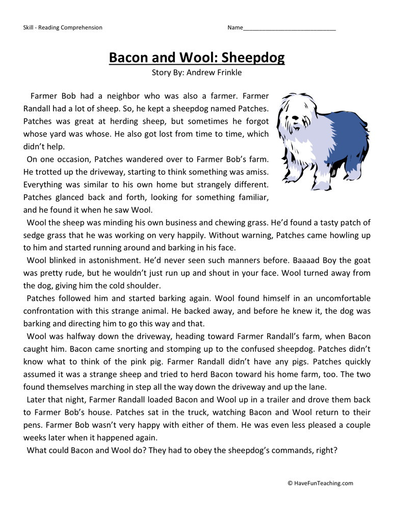 Comprehension Worksheet Bacon and Wool Sheepdog – Reading Worksheets for 3rd Grade