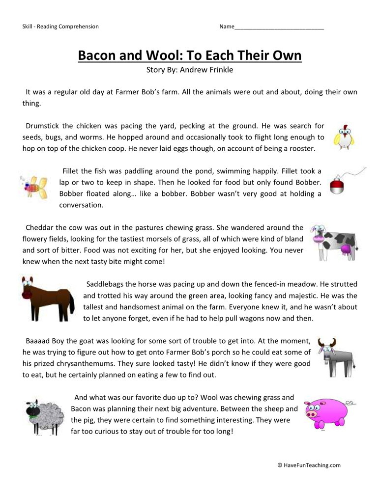 Reading Comprehension Worksheet - Bacon and Wool: To Each Their Own