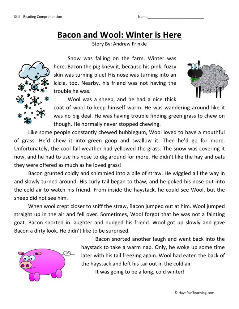 Reading Comprehension Worksheet - Bacon and Wool: Winter is Here