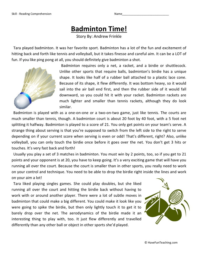 Reading Comprehension Worksheet - Badminton Time