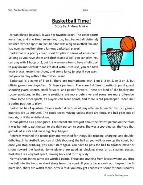 reading comprehension worksheet basketball time. Black Bedroom Furniture Sets. Home Design Ideas