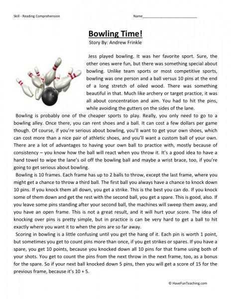 reading comprehension worksheet bowling time. Black Bedroom Furniture Sets. Home Design Ideas