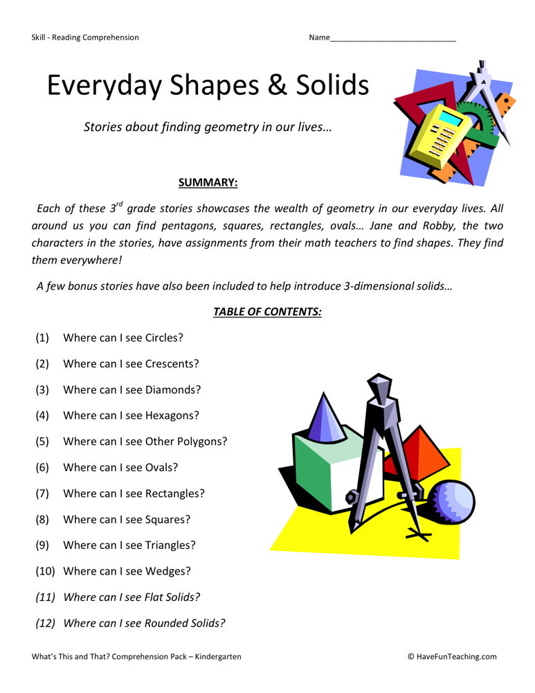 Reading Comprehension Worksheet - Everyday Shapes Collection