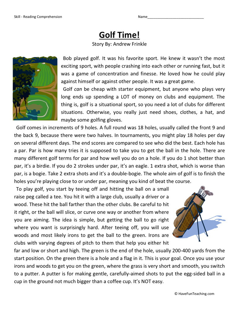 Reading Comprehension Worksheet - Golf Time