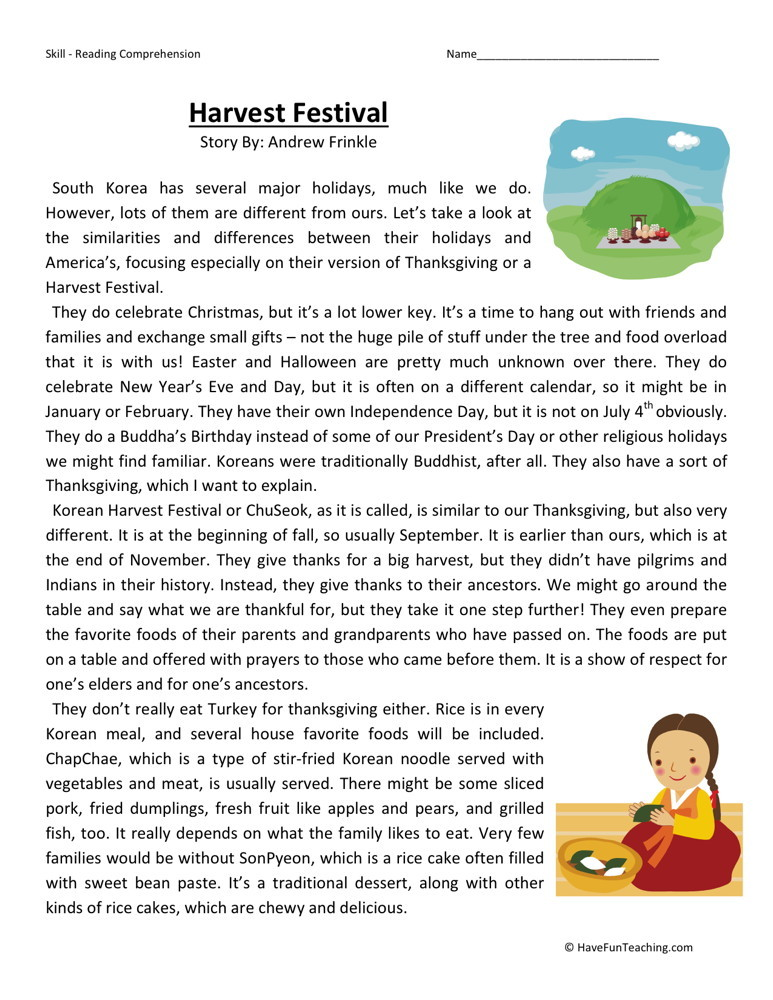 Reading Comprehension Worksheet - Harvest Festival