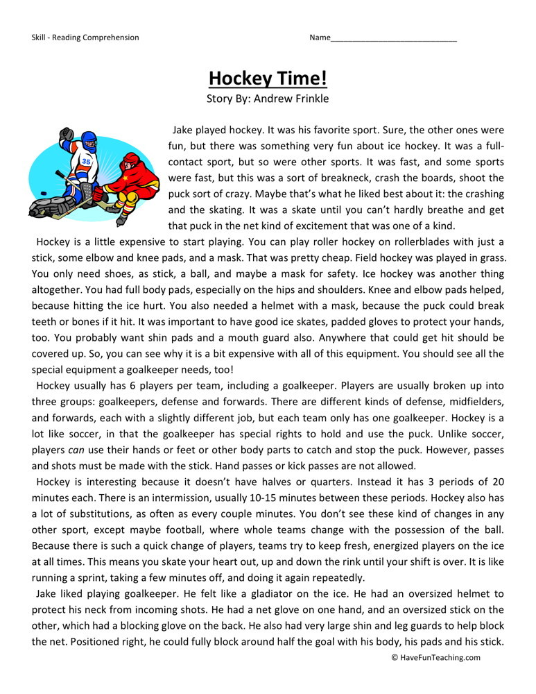 Reading Comprehension Worksheet - Hockey Time