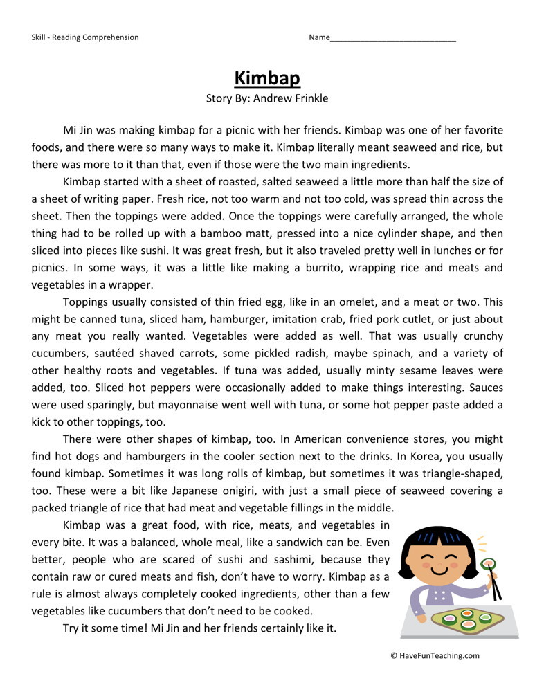 Reading Comprehension Worksheet - Kimbap