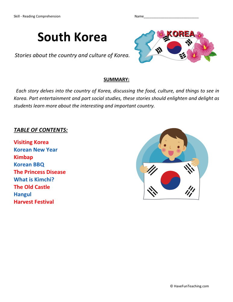 Reading Comprehension Worksheet - Korea Collection