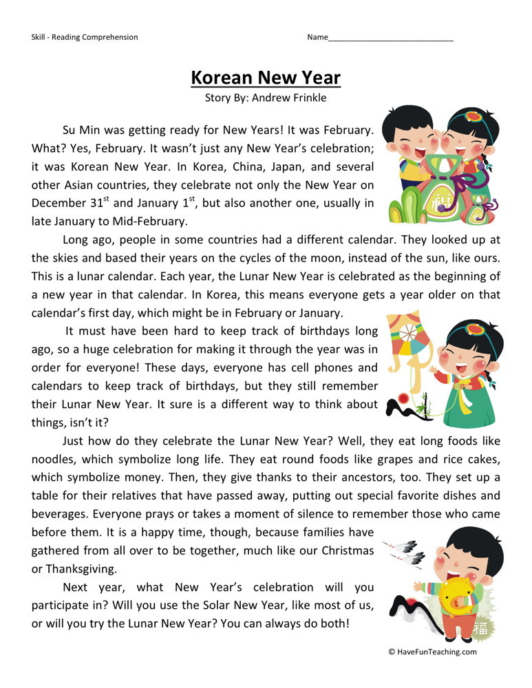 Reading Comprehension Worksheet - Korean New Year