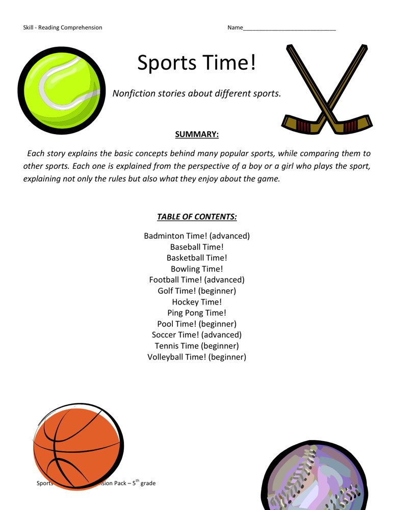 Reading Comprehension Worksheet - Sports Time Collection
