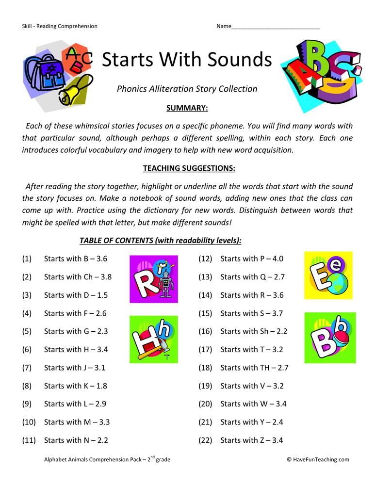 reading comprehension worksheet starts with sounds collection. Black Bedroom Furniture Sets. Home Design Ideas
