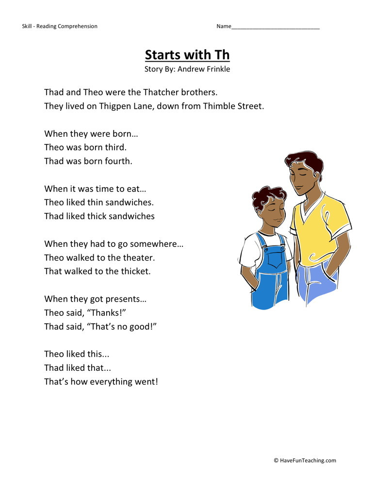 Reading Comprehension Worksheet - Starts with TH