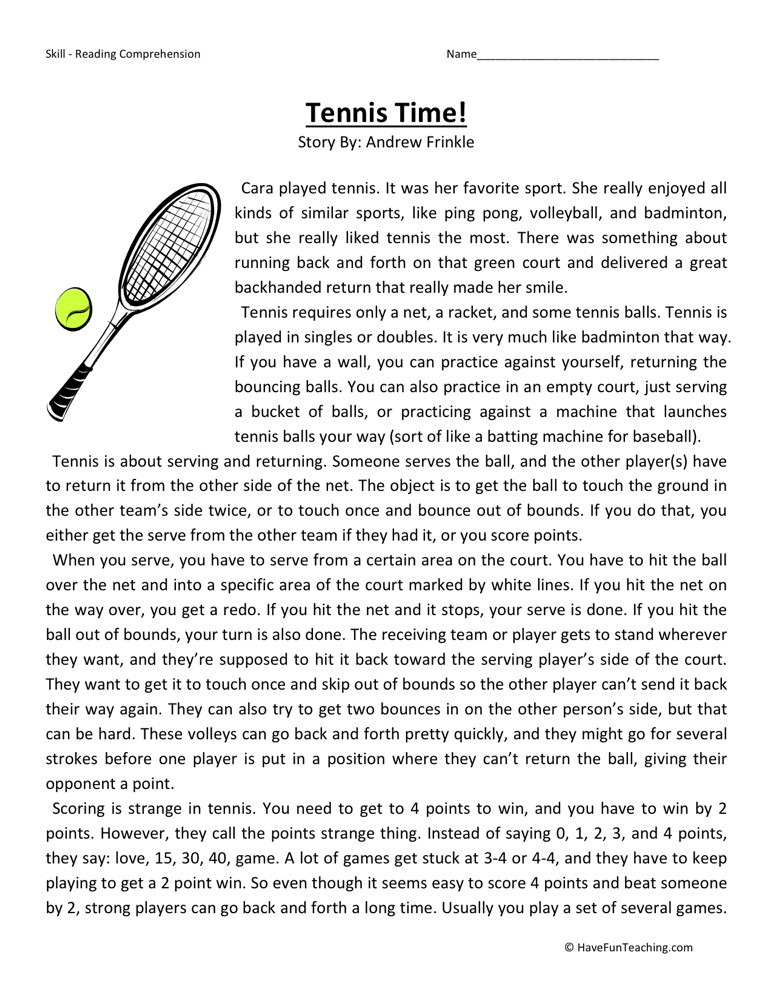 Reading Comprehension Worksheet - Tennis Time