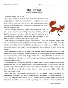 Reading Comprehension Worksheet - The First Tail