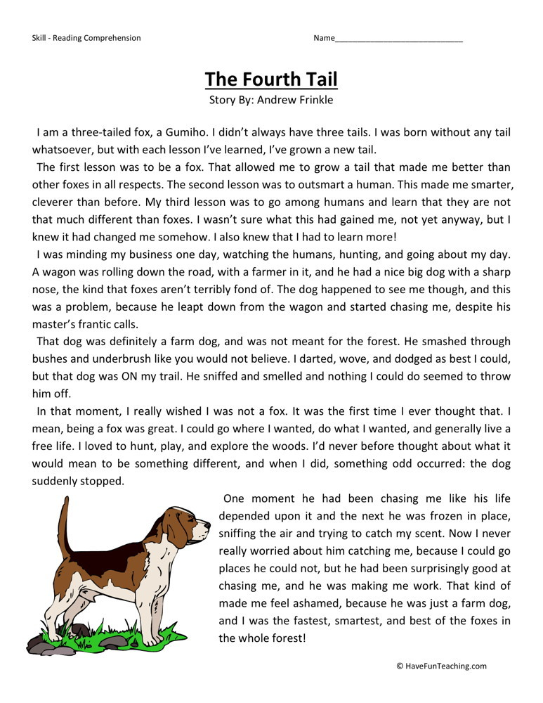Reading Comprehension Worksheet - The Fourth Tail