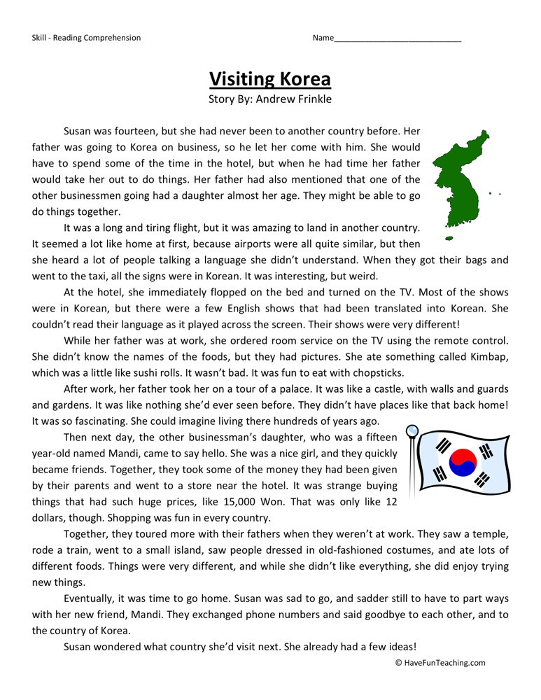 Reading Comprehension Worksheet - Visiting Korea