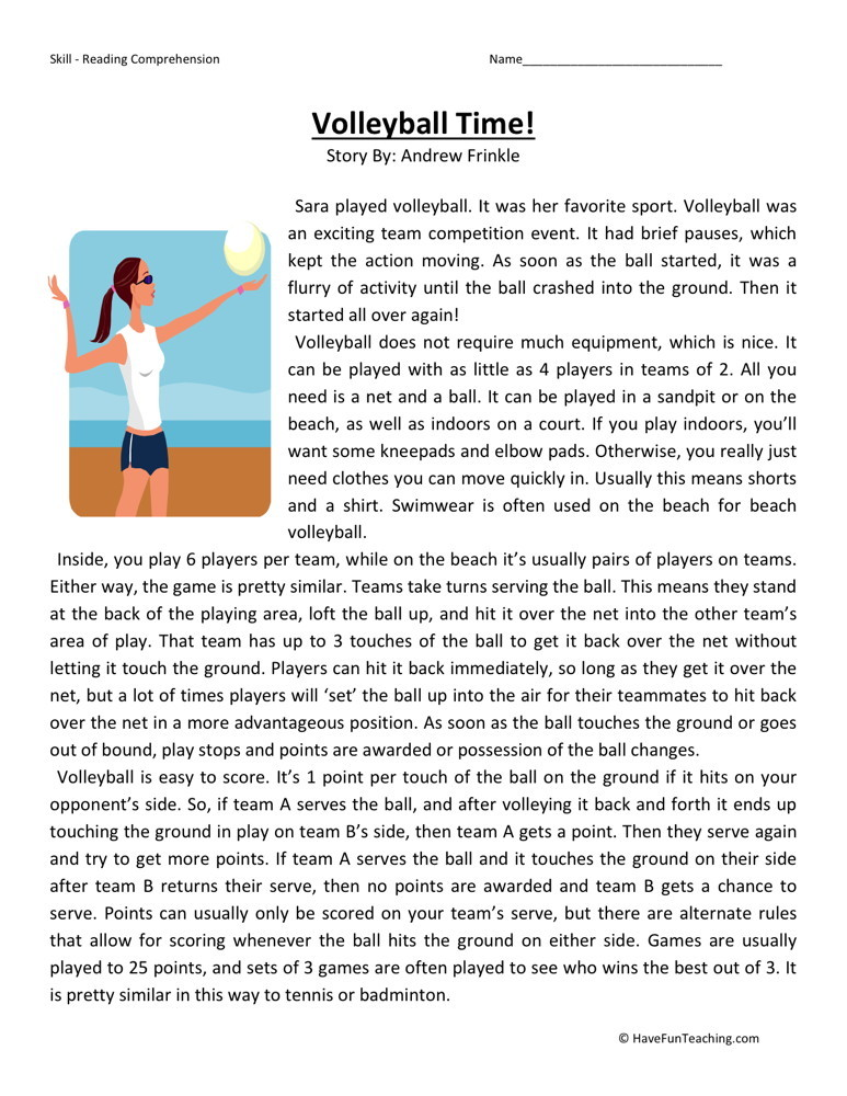 Reading Comprehension Worksheet - Volleyball Time