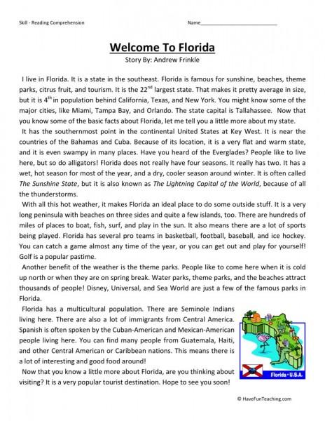 reading comprehension worksheet welcome to florida. Black Bedroom Furniture Sets. Home Design Ideas