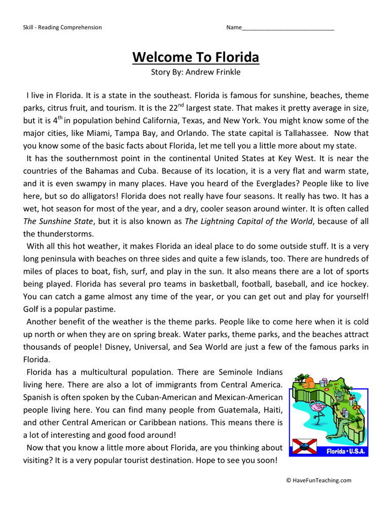 Reading Comprehension Worksheet - Welcome to Florida