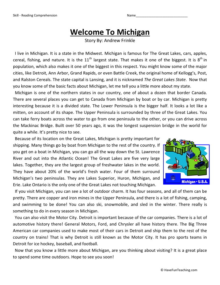 Reading Comprehension Worksheet Welcome To Michigan