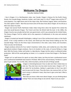 Reading Comprehension Worksheet - Welcome to Oregon
