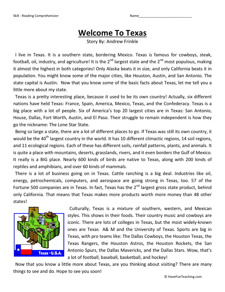 Reading Comprehension Worksheet - Welcome to Texas