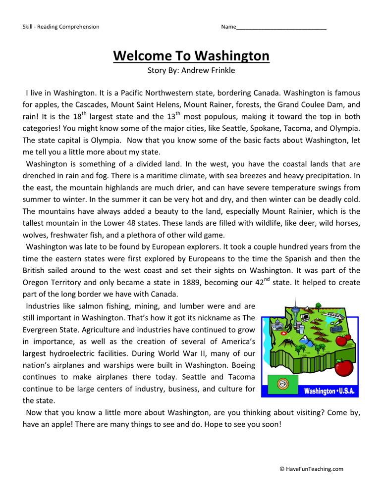 4th Grade Reading Comprehension Worksheets : Reading comprehension worksheet welcome to washington