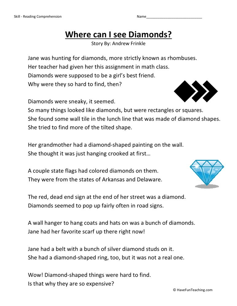 Reading Comprehension Worksheet - Where Can I See Diamonds?