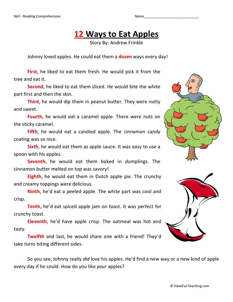 Sixth grade worksheets reading