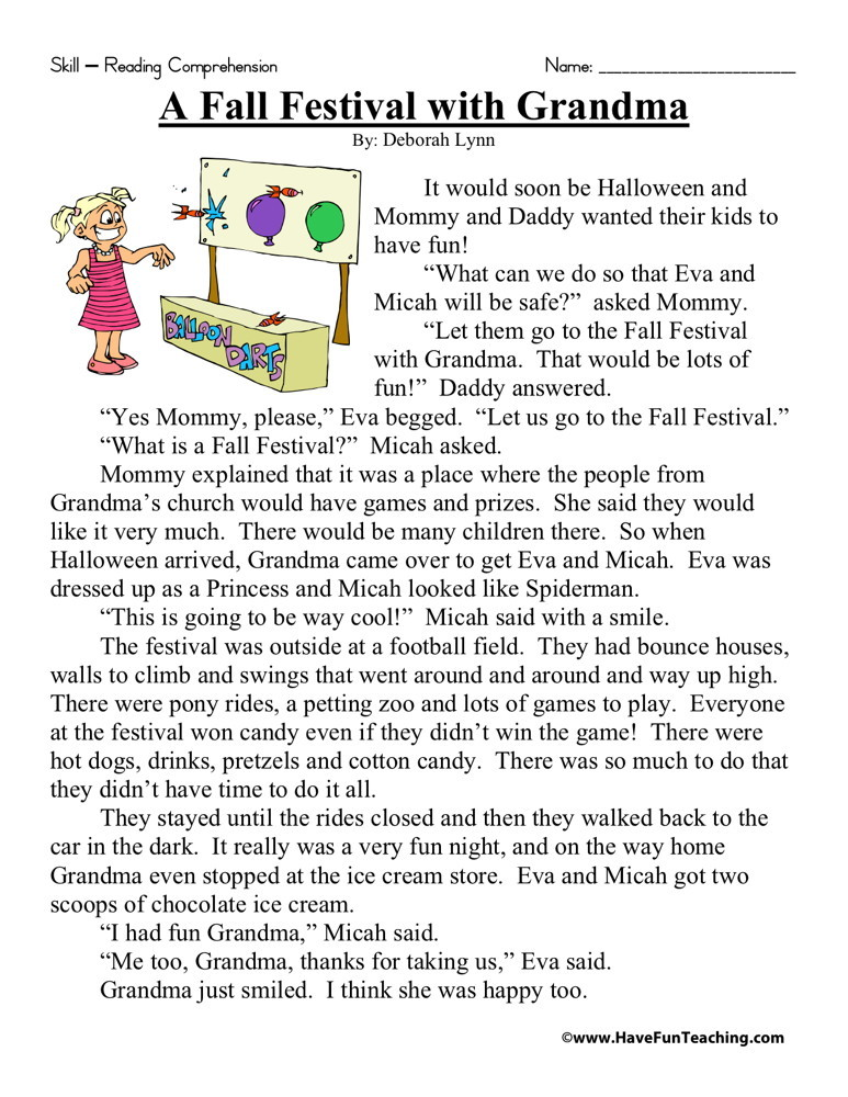 Reading prehension Worksheets also Free Printable Fall Worksheets ...