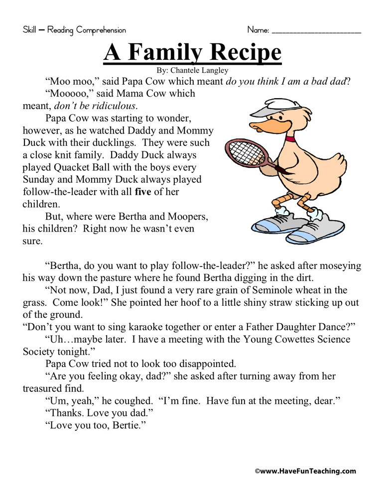 Reading Comprehension Worksheet - A Family Recipe
