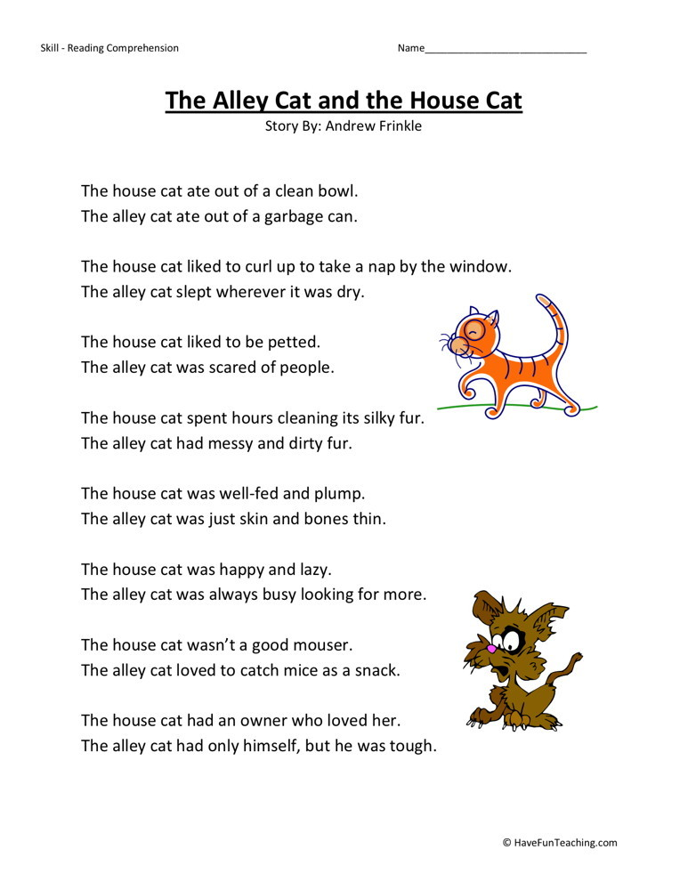 ... Grade Reading Comprehension Worksheets › The Alley Cat and the House