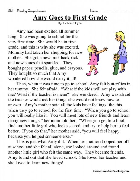 Reading Comprehension Worksheet - Amy Goes To First Grade