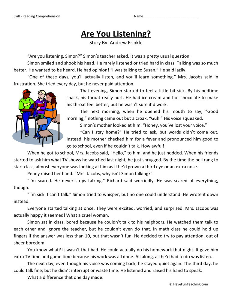 Reading Worksheets For 3rd Grade : Reading comprehension worksheet are you listening
