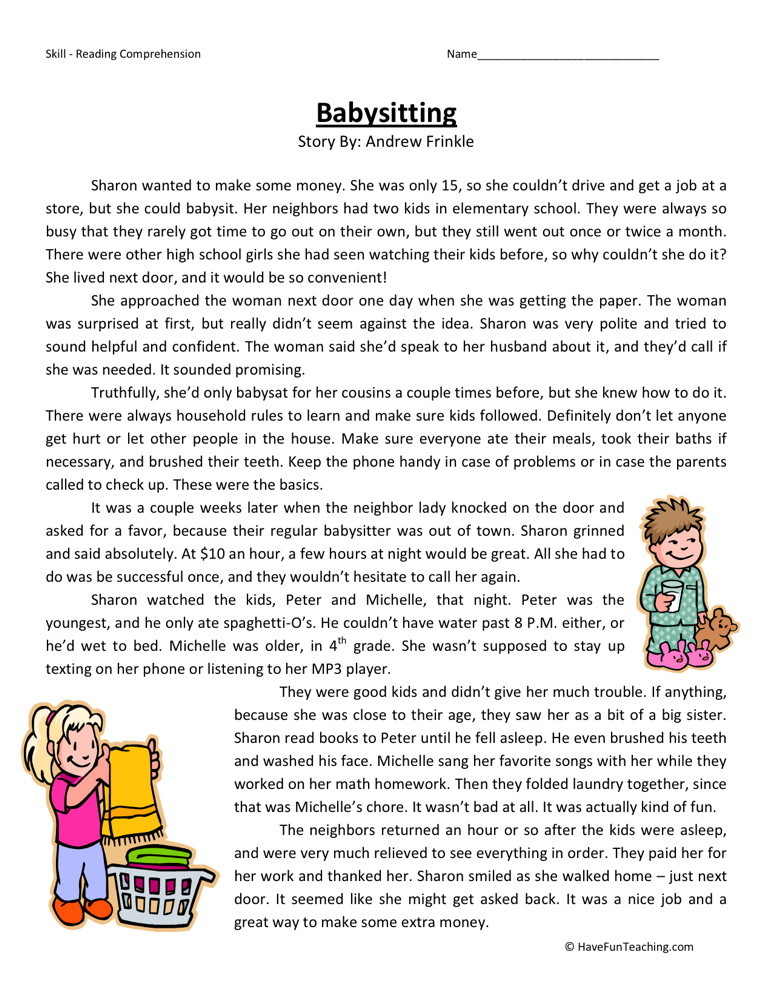 Reading Comprehension Worksheet - Babysitting